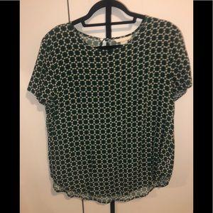 H&M Geometric Pattern Short Sleeve Blouse Sz 12